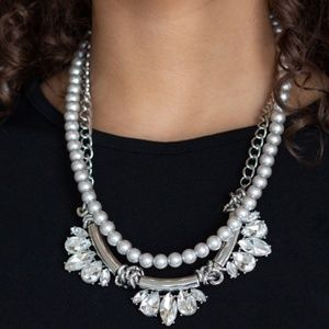 Double Layer - Silver Chain & White Pearl Necklace